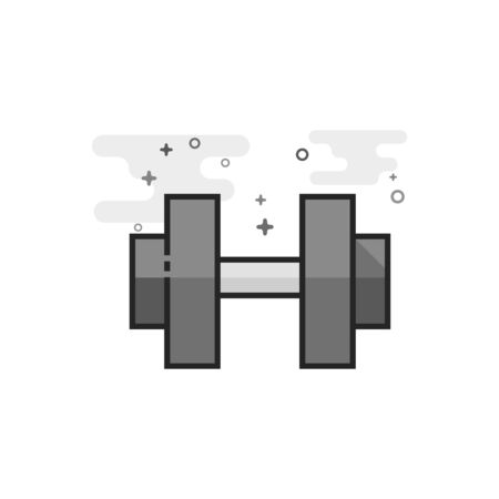 Dumbbell icon in flat outlined grayscale style. Vector illustration. Illustration
