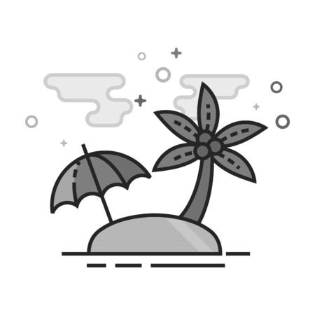 Island icon in flat outlined grayscale style. Vector illustration.