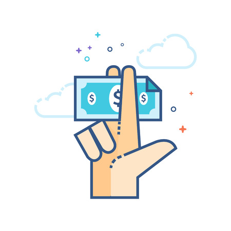 Hand holding money icon in outlined flat color style. Vector illustration. Stock Illustratie