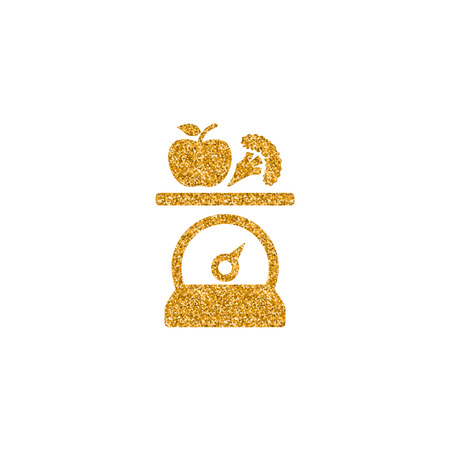 Food scale icon in gold glitter texture. Sparkle luxury style vector illustration. Zdjęcie Seryjne - 114905780