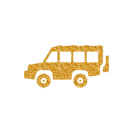 Offroad car icon in gold glitter texture. Sparkle luxury style vector illustration. 向量圖像