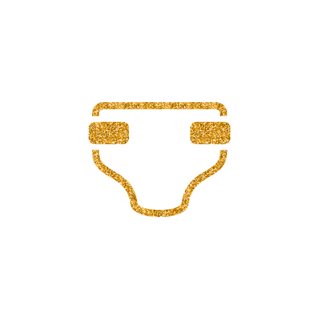 Diaper icon in gold glitter texture. Sparkle luxury style vector illustration. Stock Vector - 104934485