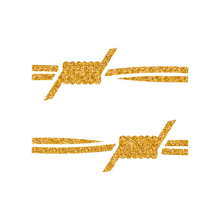 Barbed wire icon in gold glitter texture. Sparkle luxury style vector illustration. Vettoriali