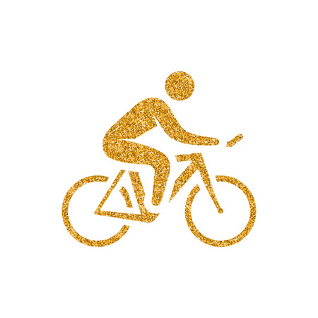Cycling icon in gold glitter texture. Sparkle luxury style vector illustration.
