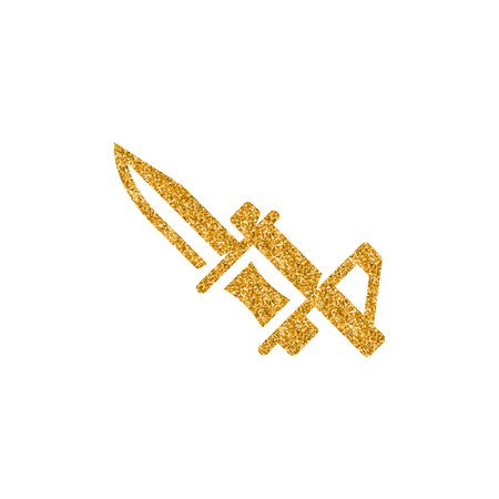 Bayonet knife icon in gold glitter texture. Sparkle luxury style vector illustration.