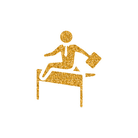 Businessman challenge icon in gold glitter texture. Sparkle luxury style vector illustration.