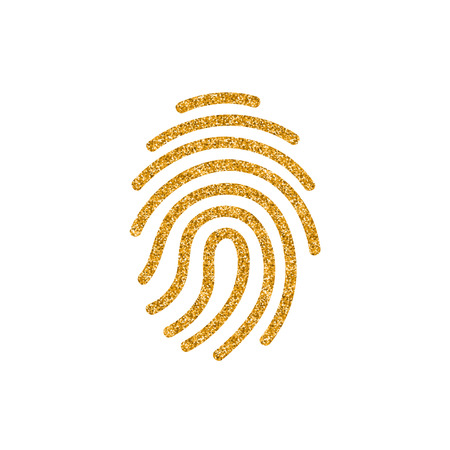 Fingerprint icon in gold glitter texture. Sparkle luxury style vector illustration.