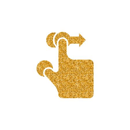 Fingergeste-Symbol in Goldglitter-Textur. Funkeln Sie Luxus-Stil-Vektor-Illustration.
