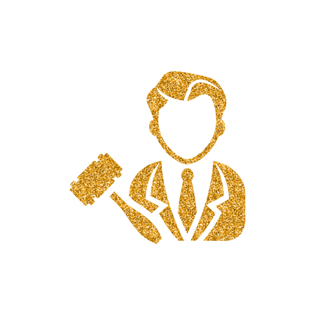 Auctioneer icon in gold glitter texture. Sparkle luxury style vector illustration.