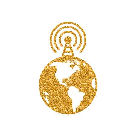 Globe podcast icon in gold glitter texture. Sparkle luxury style vector illustration. Иллюстрация