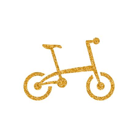 Icône de vélo dans la texture de paillettes d'or. Illustration vectorielle de style luxe scintillant.