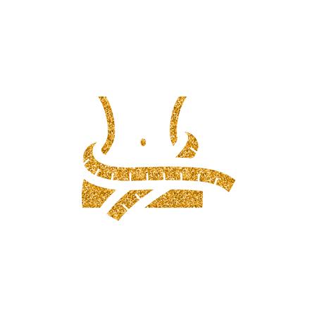 Measure tape icon in gold glitter texture. Sparkle luxury style vector illustration. 矢量图像