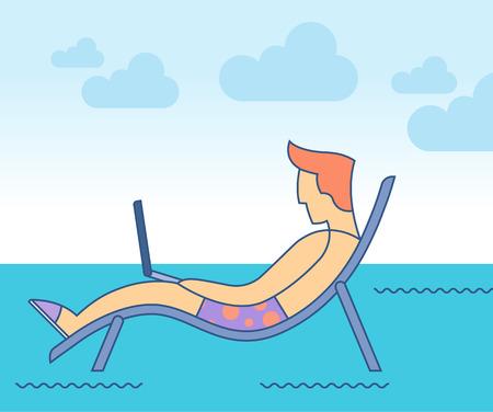 Man with laptop on her lap. Digital nomad concept. Vector illustration. Illustration