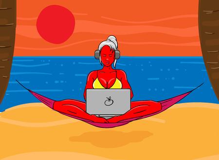 Woman wearing bikini with laptop on her lap.  Digital nomad concept. Vector illustration. Illustration
