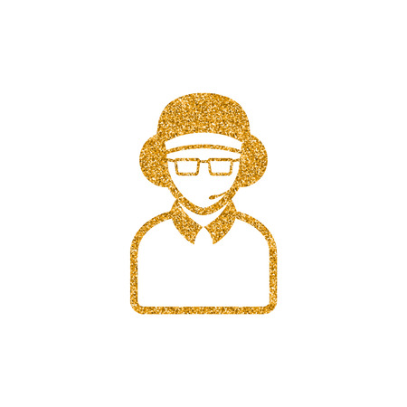 Man headphone icon in gold glitter texture. Sparkle luxury style vector illustration.