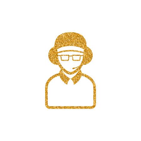 Man headphone icon in gold glitter texture. Sparkle luxury style vector illustration.