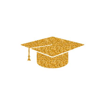 Graduation hat icon in gold glitter texture. Sparkle luxury style vector illustration.