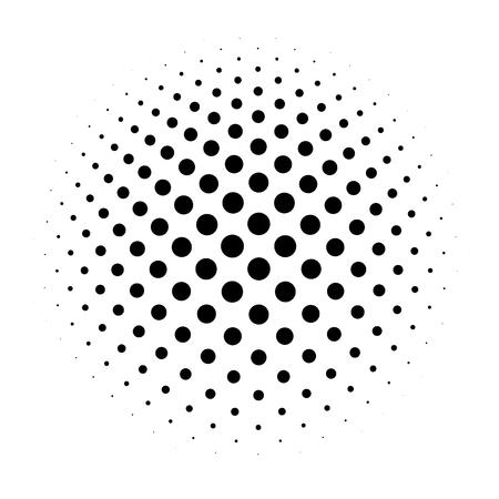 Halftone dots in radial gradient. Bulge sphere. Raster industrial. Vector illustration. 일러스트