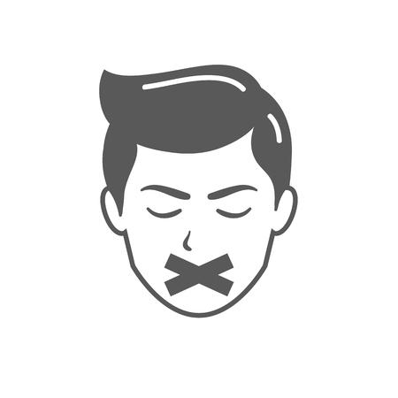 Visage masculin avec du ruban adhésif sur la bouche.