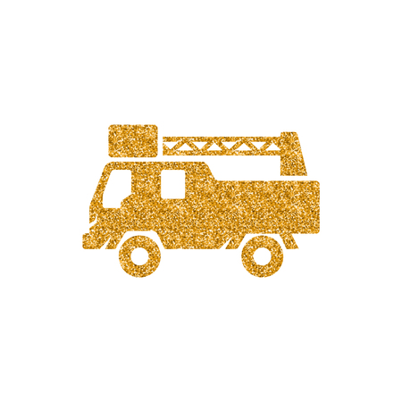 Fireman car truck icon in gold glitter texture. Sparkle luxury style vector illustration. Vectores