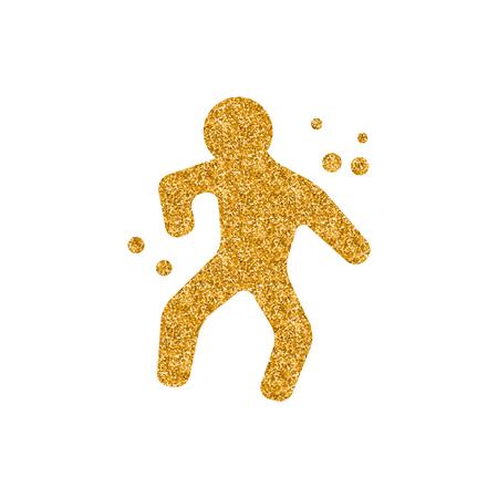 Crime victim icon in gold glitter texture. Sparkle luxury style vector illustration.