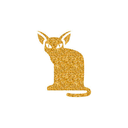 Cat icon in gold glitter texture. Sparkle luxury style vector illustration.