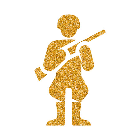 World War army icon in gold glitter texture. Sparkle luxury style vector illustration.