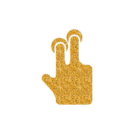 Finger gesture icon in gold glitter texture. Sparkle luxury style vector illustration.