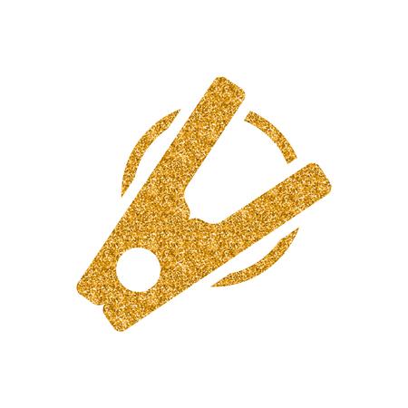 Clothes peg icon in gold glitter texture. Sparkle luxury style vector illustration. 일러스트