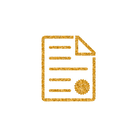Contract document icon in gold glitter texture. Sparkle luxury style vector illustration.