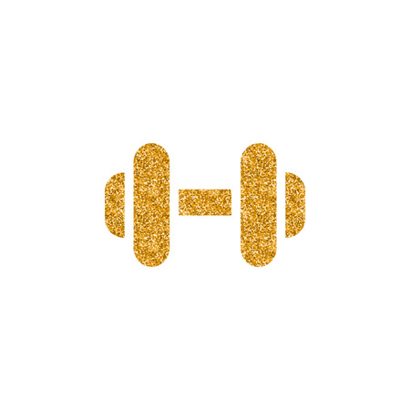 Dumbbell icon in gold glitter texture. Sparkle luxury style vector illustration.