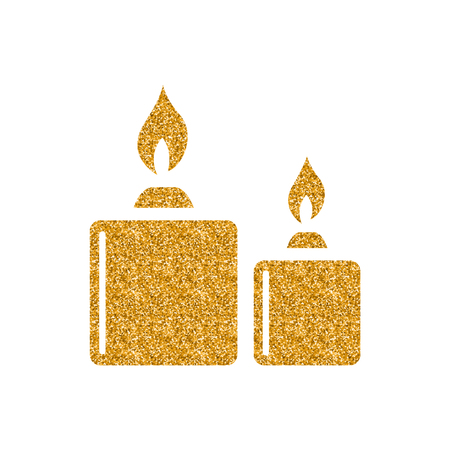 Candles icon in gold glitter texture. Sparkle luxury style vector illustration. Illustration