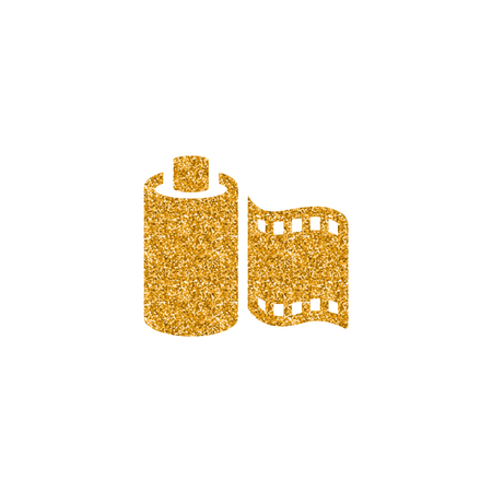 Photographic film icon in gold glitter texture. Sparkle luxury style vector illustration.