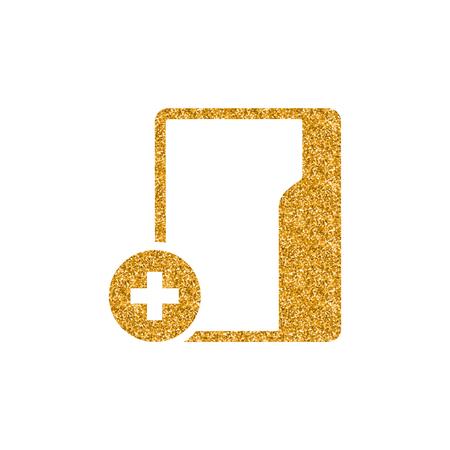 Folder icon in gold glitter texture. Sparkle luxury style vector illustration.