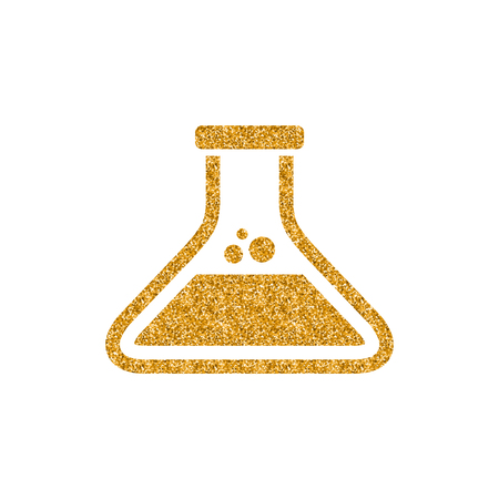 Beaker icon in gold glitter texture. Sparkle luxury style vector illustration. Vektorové ilustrace