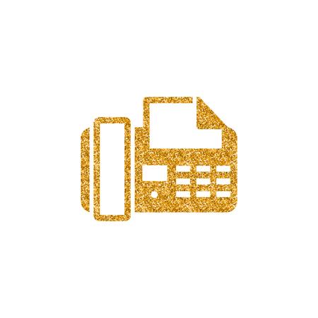 Facsimile icon in gold glitter texture. Sparkle luxury style vector illustration.