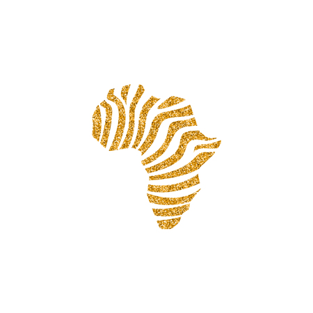 Africa map striped icon in gold glitter texture. Sparkle luxury style vector illustration.