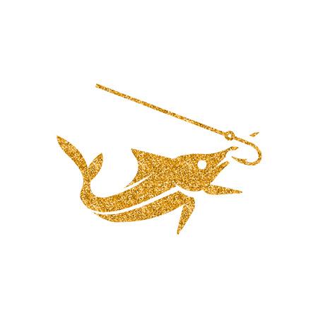Icône de poisson crochu dans la texture de paillettes d'or. Illustration vectorielle de style luxe scintillant. Vecteurs