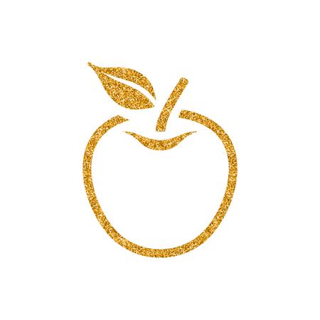 Apple icon in gold glitter texture. Sparkle luxury style vector illustration. Illusztráció