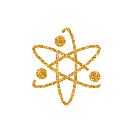 Atom structure icon in gold glitter texture. Sparkle luxury style vector illustration.