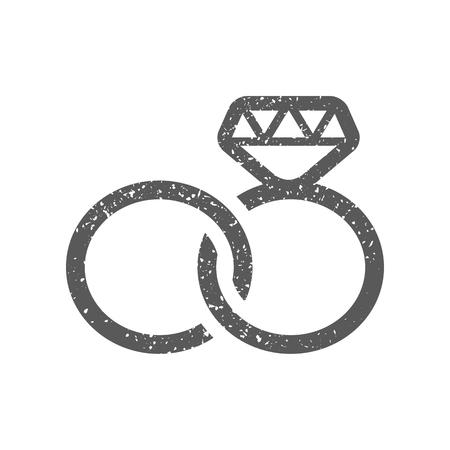 Icono de anillo de bodas en textura grunge. Ilustración de vector de estilo vintage.
