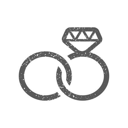 Wedding ring icon in grunge texture. Vintage style vector illustration. Illustration