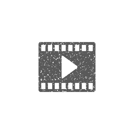 Movie play symbol icon in grunge texture. Vintage style vector illustration.