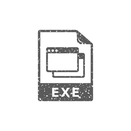 Executable file format icon in grunge texture. Vintage style vector illustration. Ilustracja