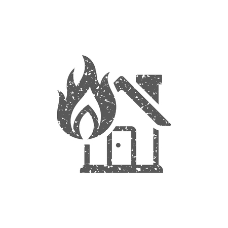 House fire icon in grunge texture. Vintage style vector illustration. Illustration