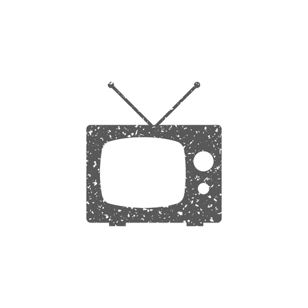 Television icon in grunge texture. Vintage style vector illustration.