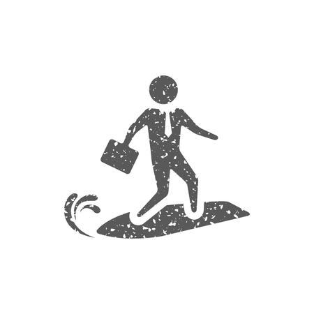 Businessman challenge icon in grunge texture. Vintage style vector illustration.