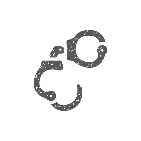 Handcuff icon in grunge texture. Vintage style vector illustration.