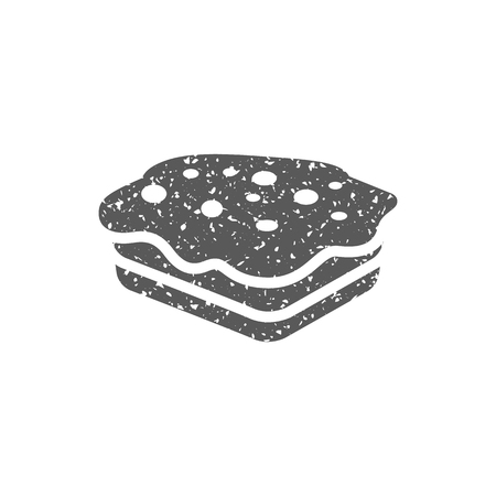 Cake icon in grunge texture. Vintage style vector illustration.