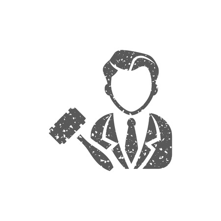 Auctioneer icon in grunge texture. Vintage style vector illustration. Illustration